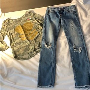 Girls outfit, size 10/12 Hudson jeans, justice top